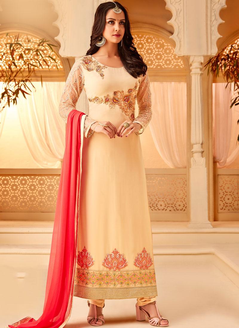 Vivid Cream Embroidered Georgette Designer Straight Salwar Kameez