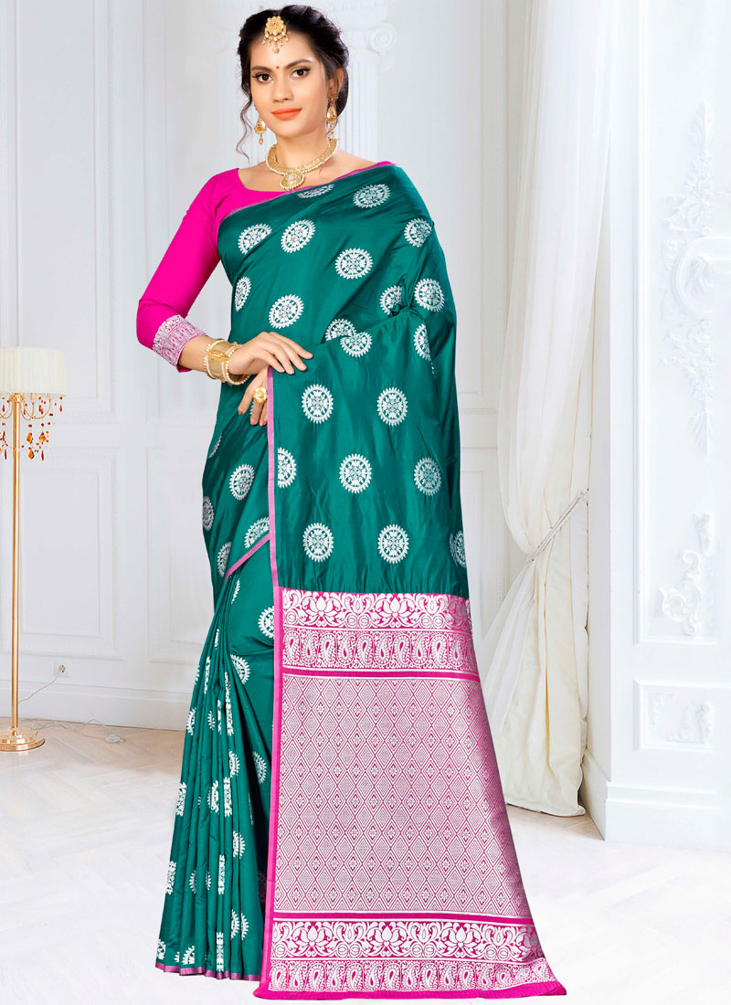Vivid Weaving Green Banarasi Silk Traditional Saree