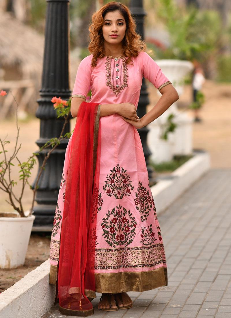 Voluptuous Pink Handwork Designer Gown