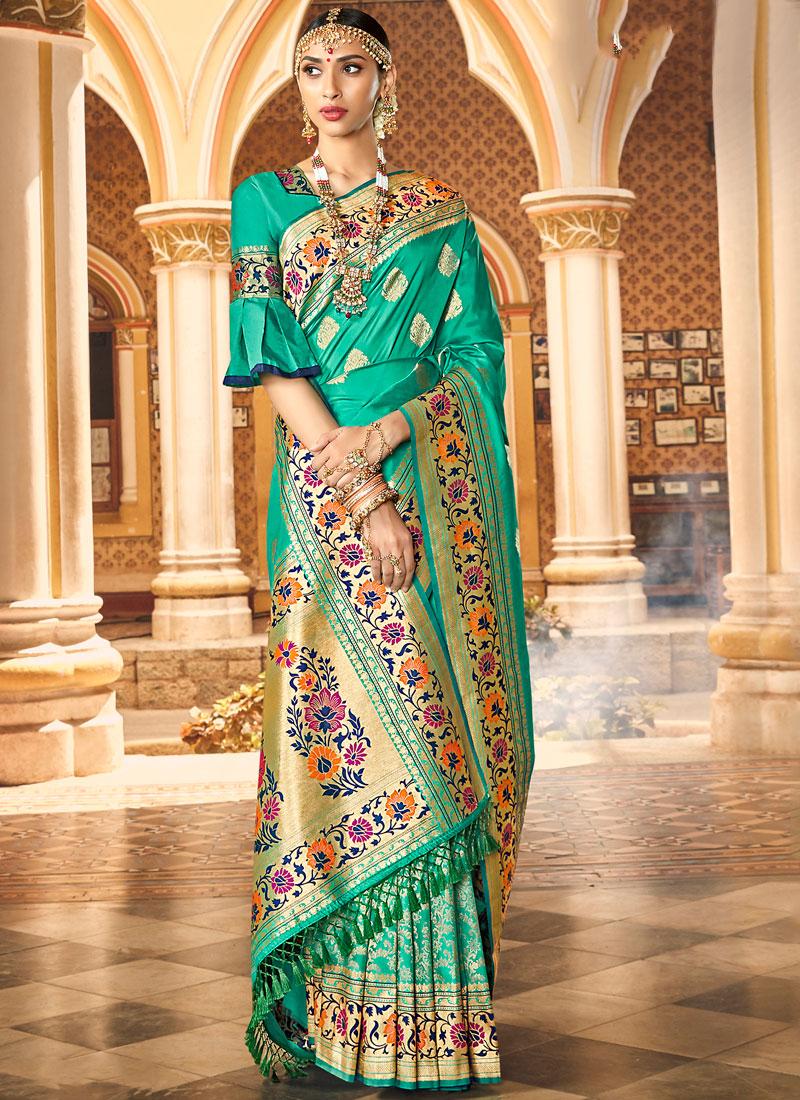 Weaving Banarasi Silk Designer Saree in Green