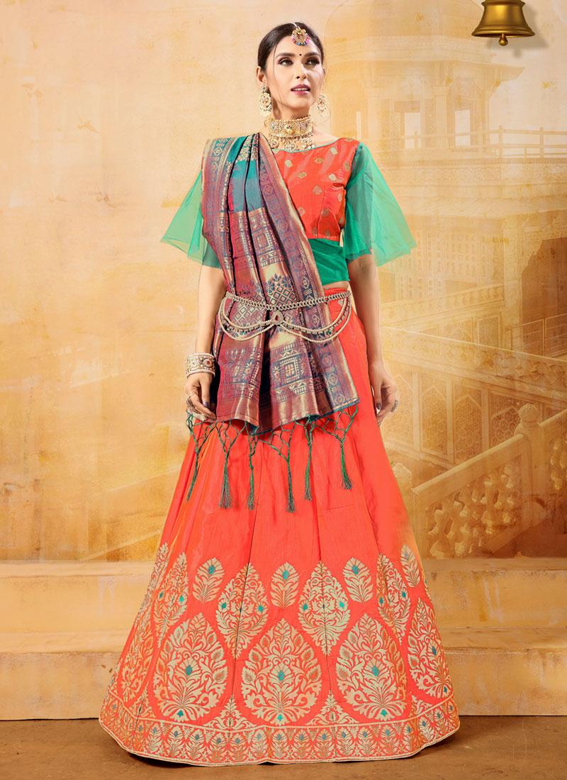 6be6eec2b3 Weaving Banarasi Silk Designer Lehenga Choli in Orange. Hover to zoom