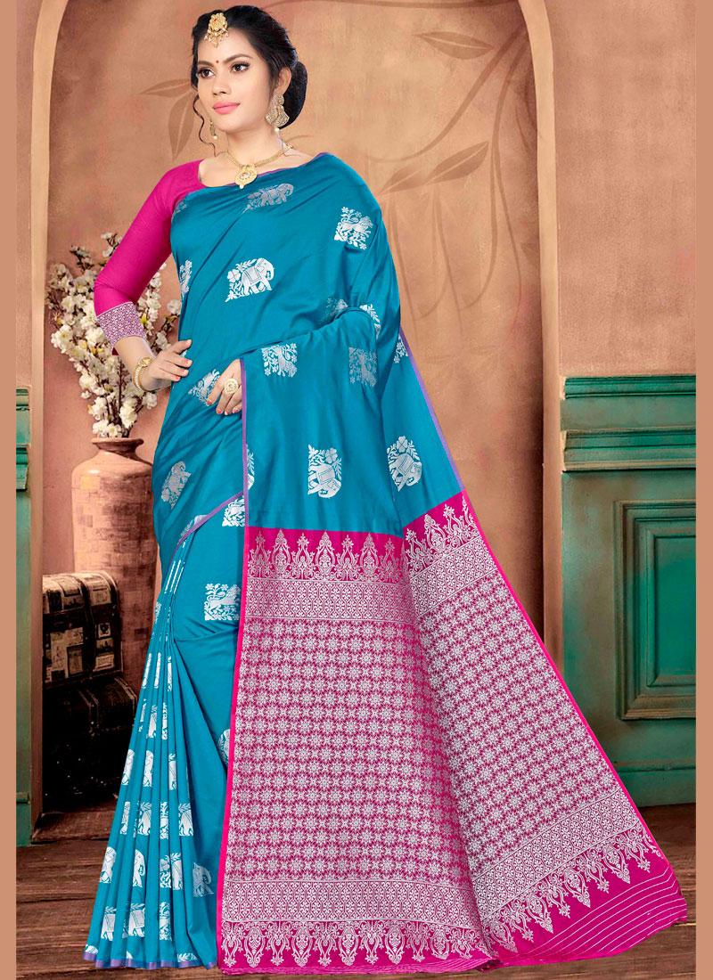 Weaving Banarasi Silk Traditional Saree in Blue