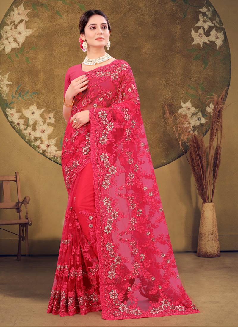 Wedding Designer Embroidery Work Net Saree In Salmon Pink