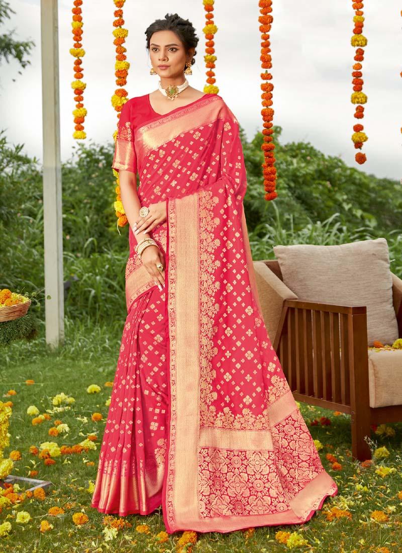 Wedding Gold Print Silk Saree In Pink