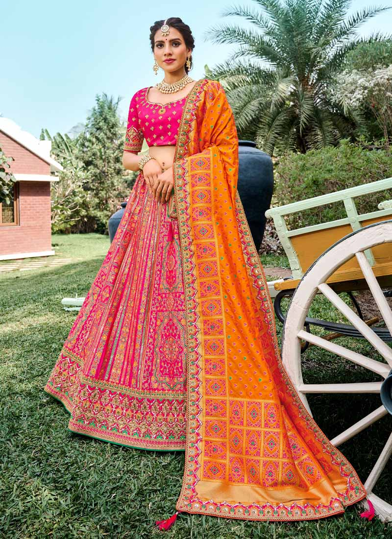 Wedding Hand Work Woven Silk Lehenga Choli In Pink