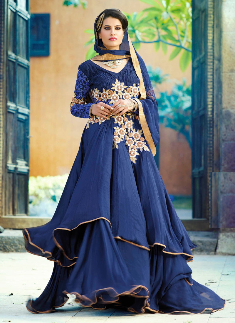 Western Look Embroidery Work Wedding Gown In Navy Blue