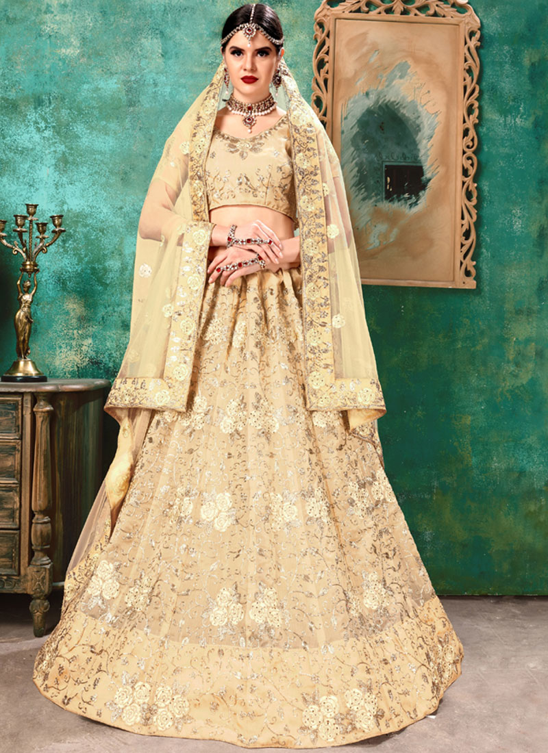 Whimsical Cream Art Silk Lehenga Choli