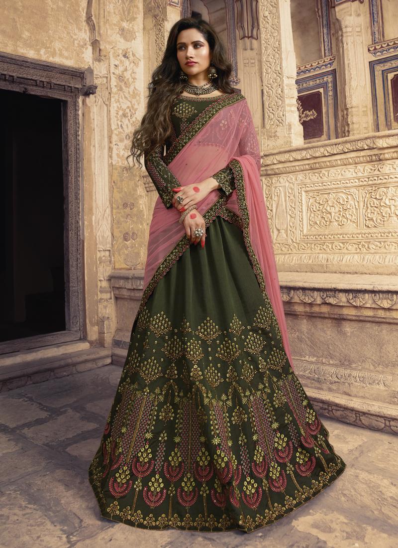 Green Wedding Designer Lehenga Choli with dupatta