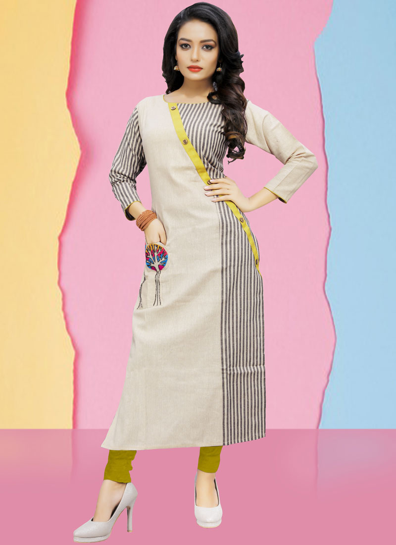 White Cotton Print Party Wear Kurti