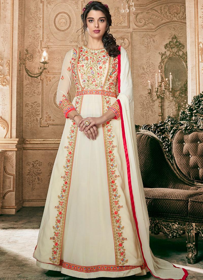 White Festival Floor Length Anarkali Suit