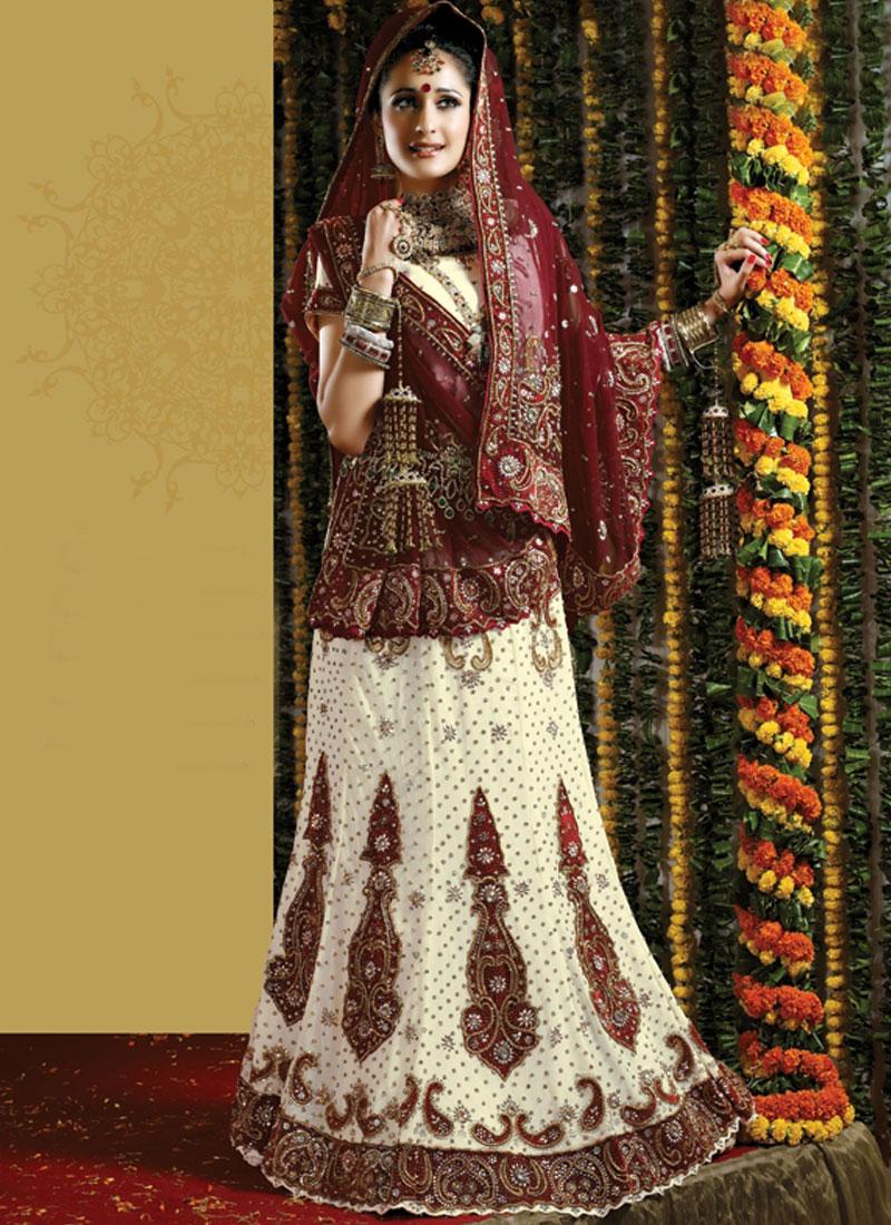 White Resham Faux Georgette Handwork bridal lehenga