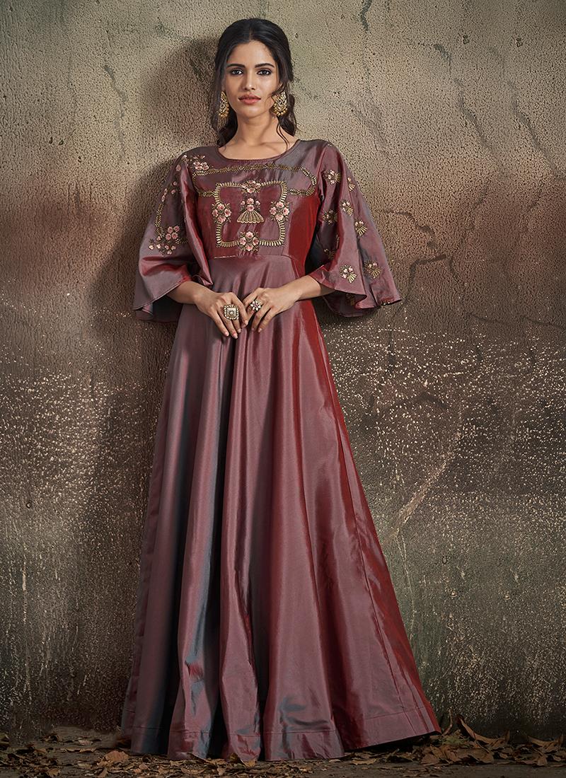 Wine Art Silk Readymade Designer Gown