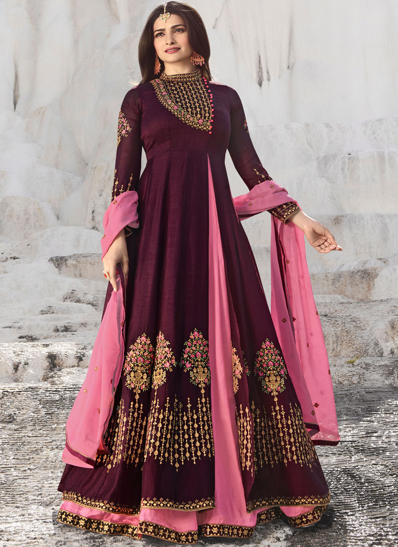 Wine Embroidered Sangeet Anarkali Salwar Kameez
