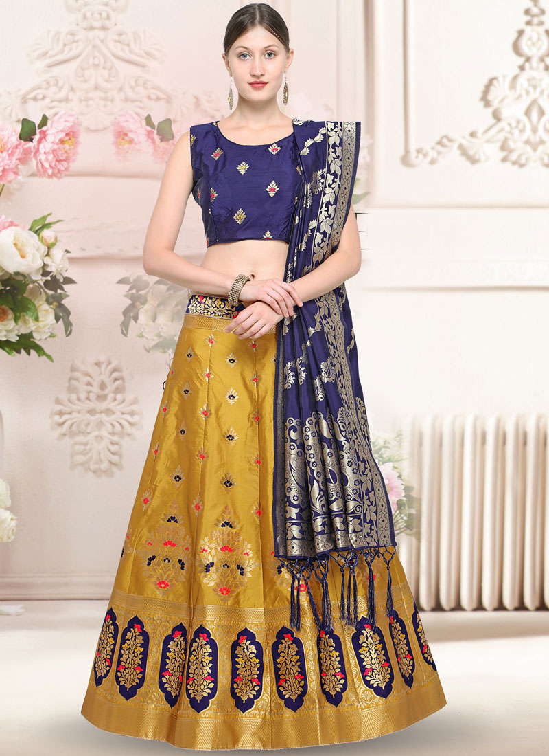 Winsome Yellow Weaving Trendy Lehenga Choli