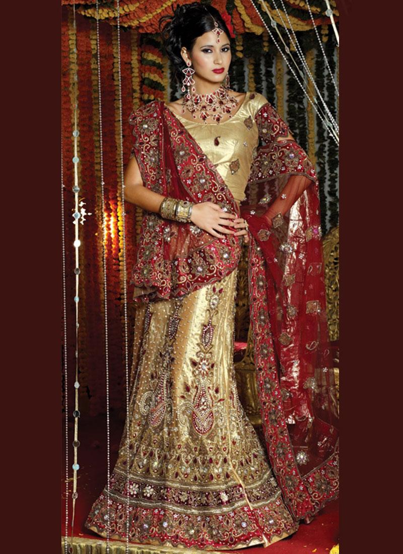 Wonderous Gold Net bridal handwork Lehenga Choli