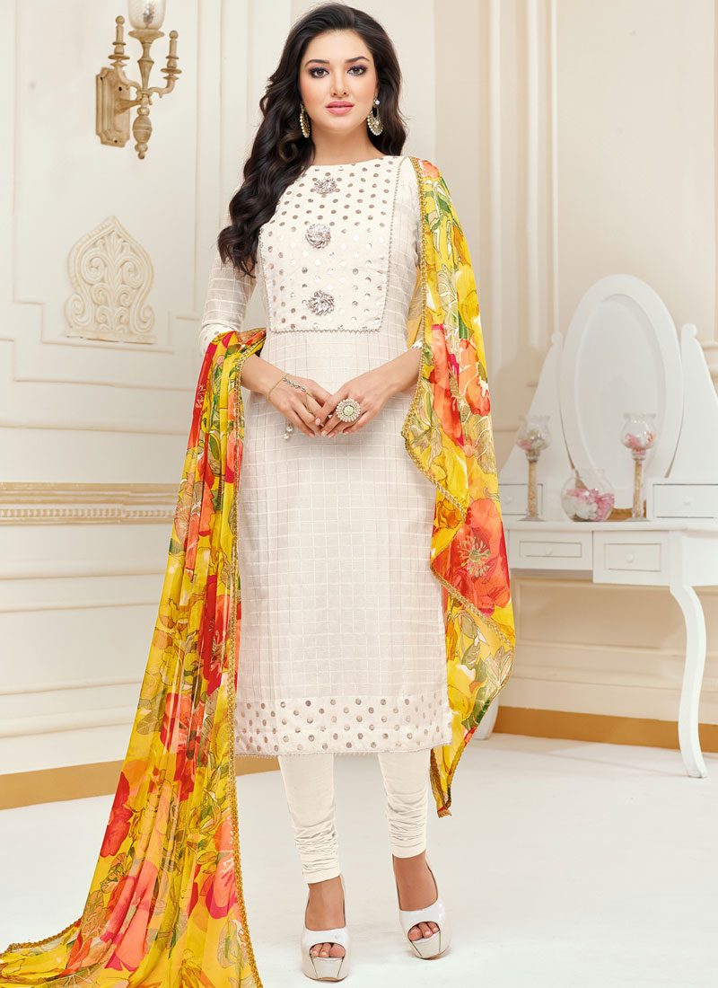 7e05cdc1d3 Wonderous White Embroidered Churidar Suit. Hover to zoom
