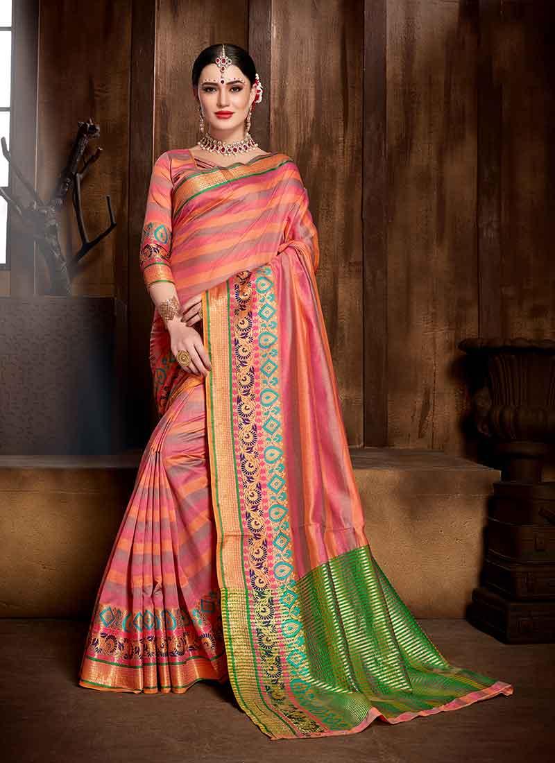 b731eb033bd3e0 Woven Art Silk Traditional Saree in Peach