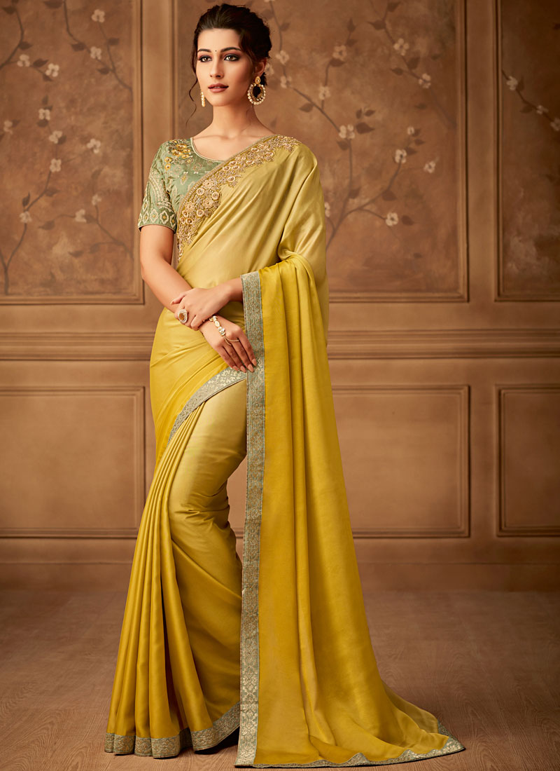 Yellow Art Silk Embroidered Classic Saree