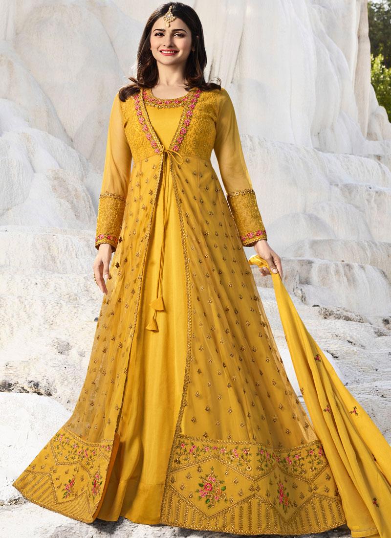 Yellow Art Silk Zari Designer Salwar Suit