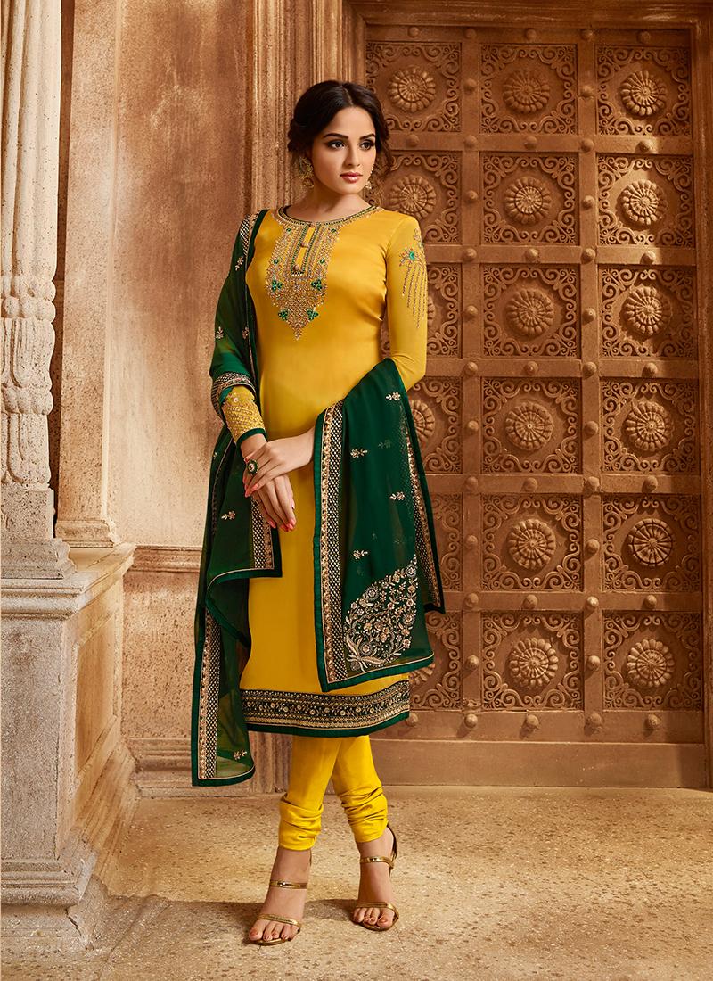 Yellow Ceremonial Georgette Satin Designer Straight Suit