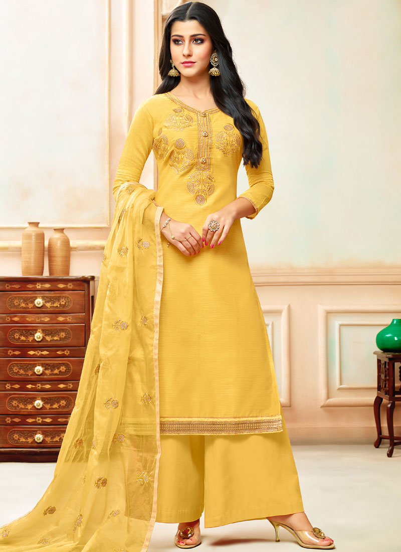 Yellow Color Designer Palazzo Suit
