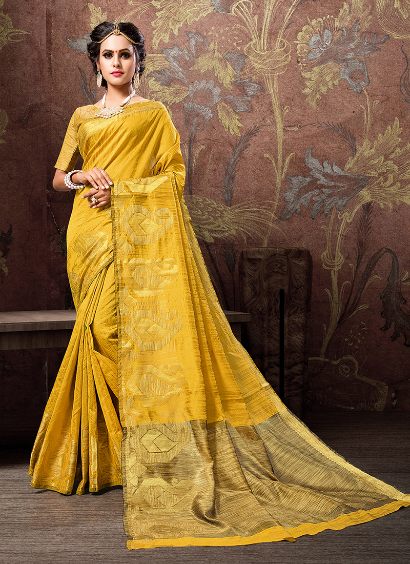 Yellow Cotton Silk Festival Traditional Saree