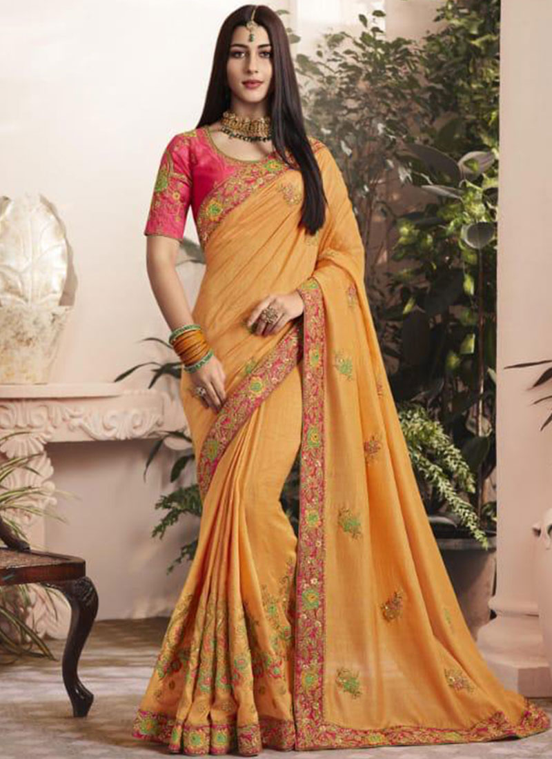 Yellow Georgette Mehndi Designer Saree