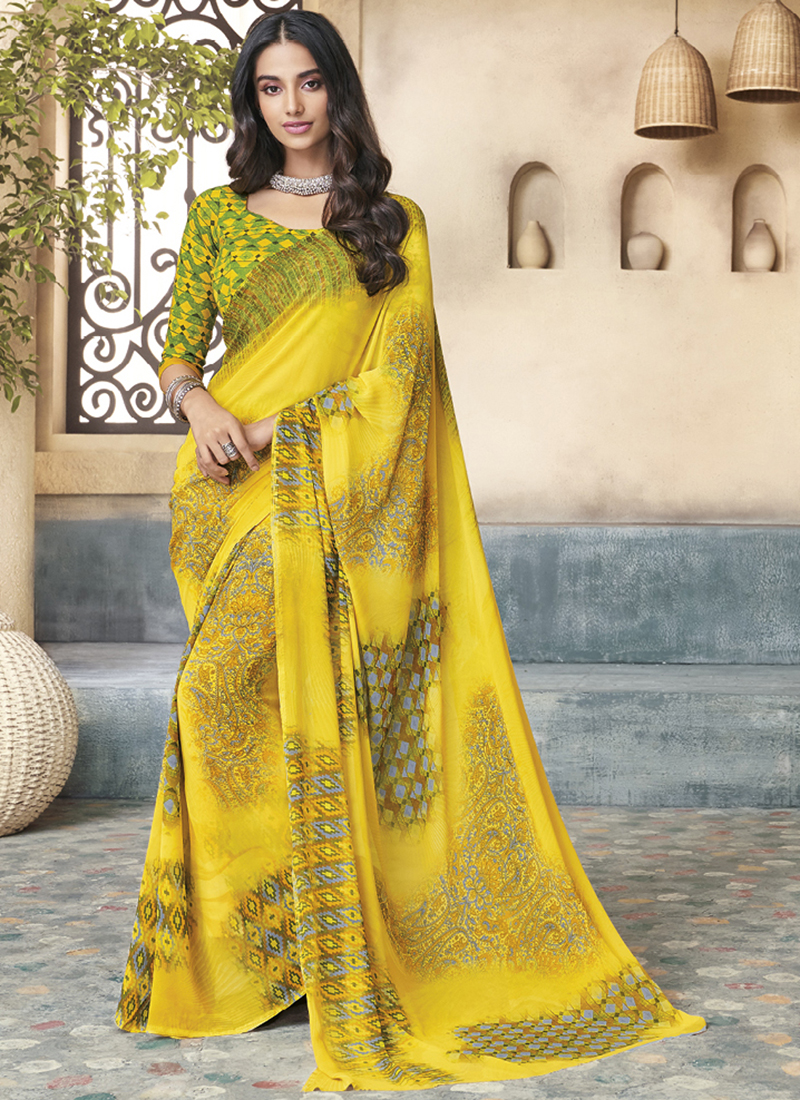 Yellow Georgette Printed Casual Saree