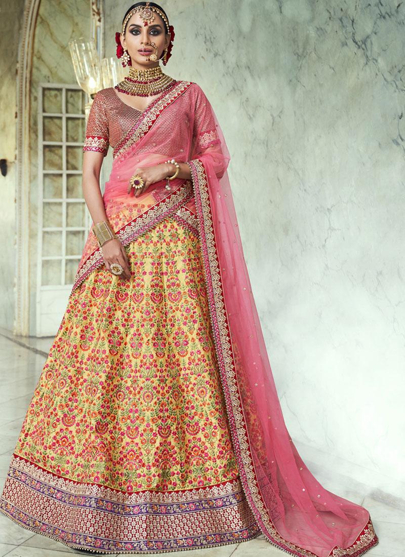 Yellow Lace Handloom silk Lehenga Choli