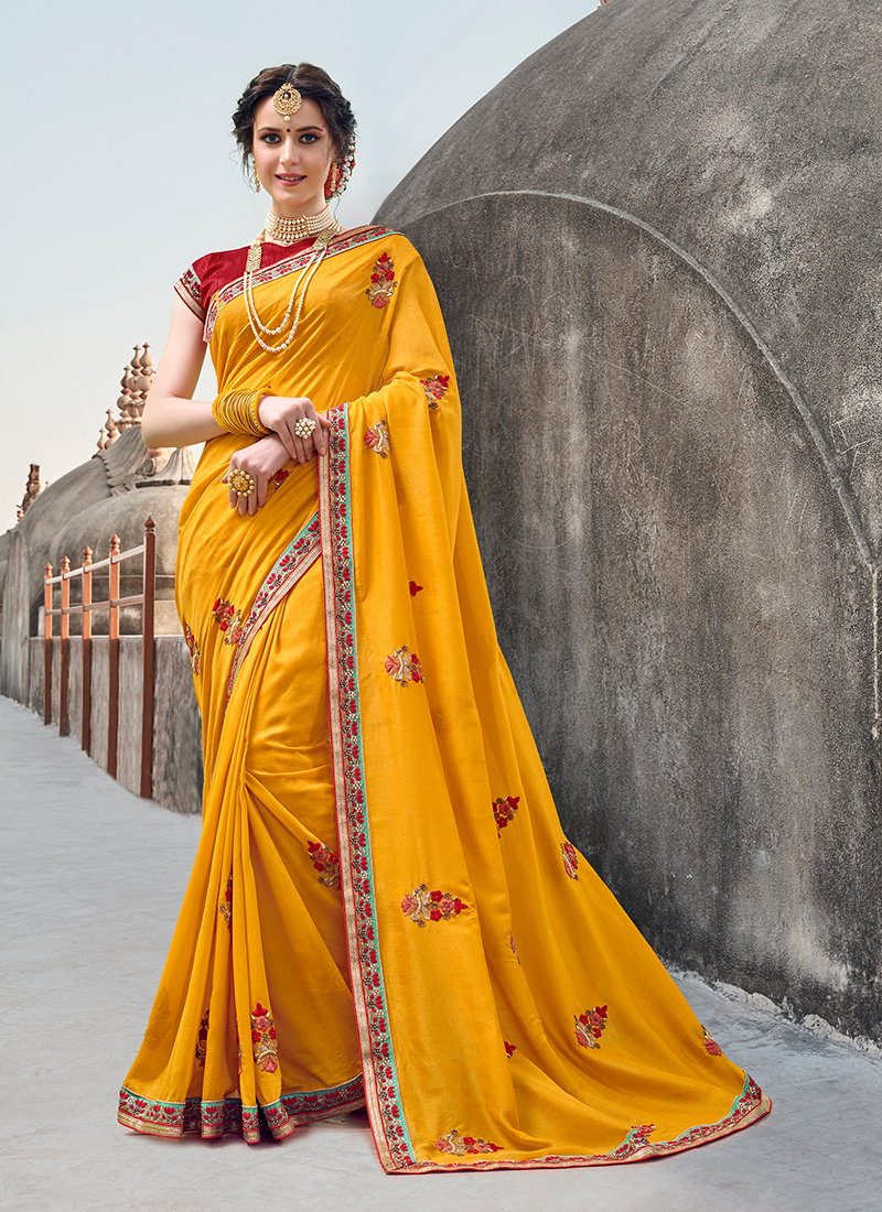 Yellow Party Designer Traditional Saree