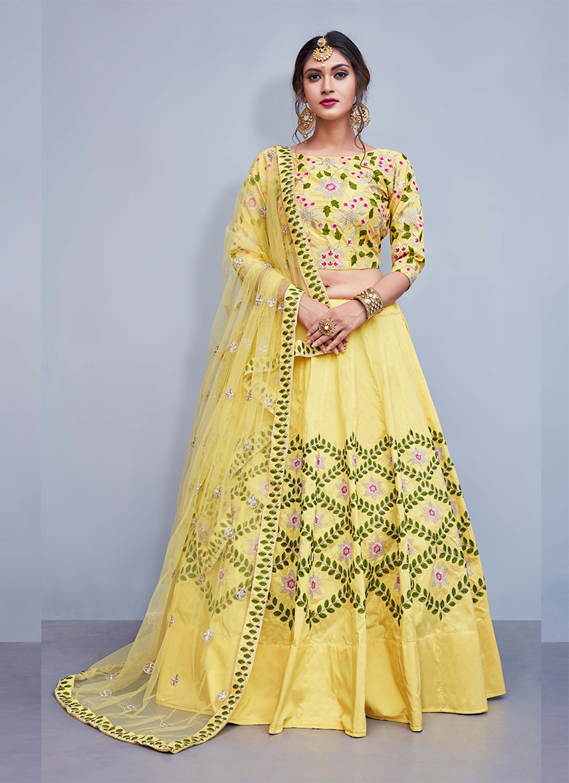 Yellow Tafeta Silk Embroidered Readymade Lehenga Choli