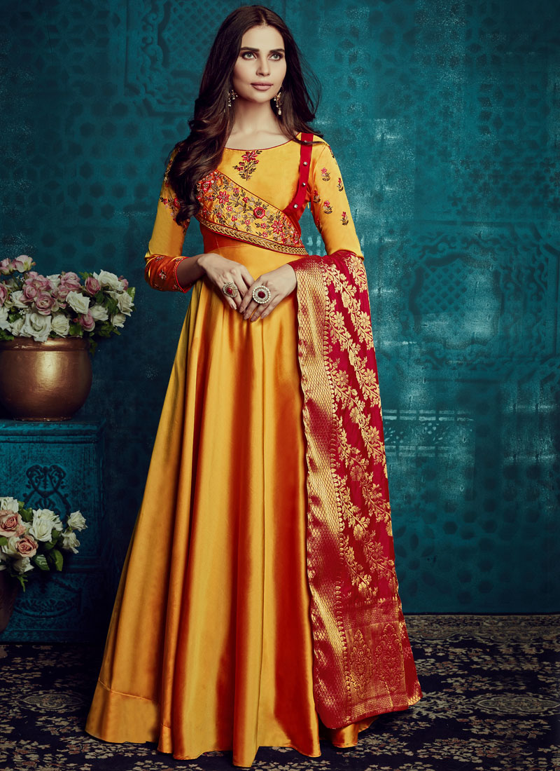 Yellow Tafeta Silk Party Readymade Anarkali Suit
