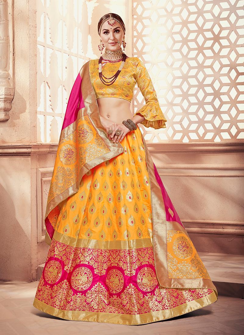 Yellow Weaving Designer Lehenga Choli